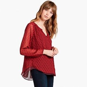 Lucky Brand Red Split Neck Layered Blouse
